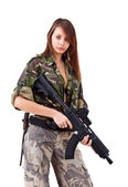 Young woman soldiers with guns — Stock Photo