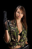 Woman with a rifle — Stock Photo