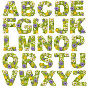 Green leaf whit flower fonts — Stock fotografie