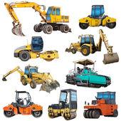 Conjunto de máquinas de construção — Foto Stock
