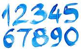 Número azul escrita à mão — Foto Stock