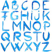 Blue hand-written alphabet — Stock Photo
