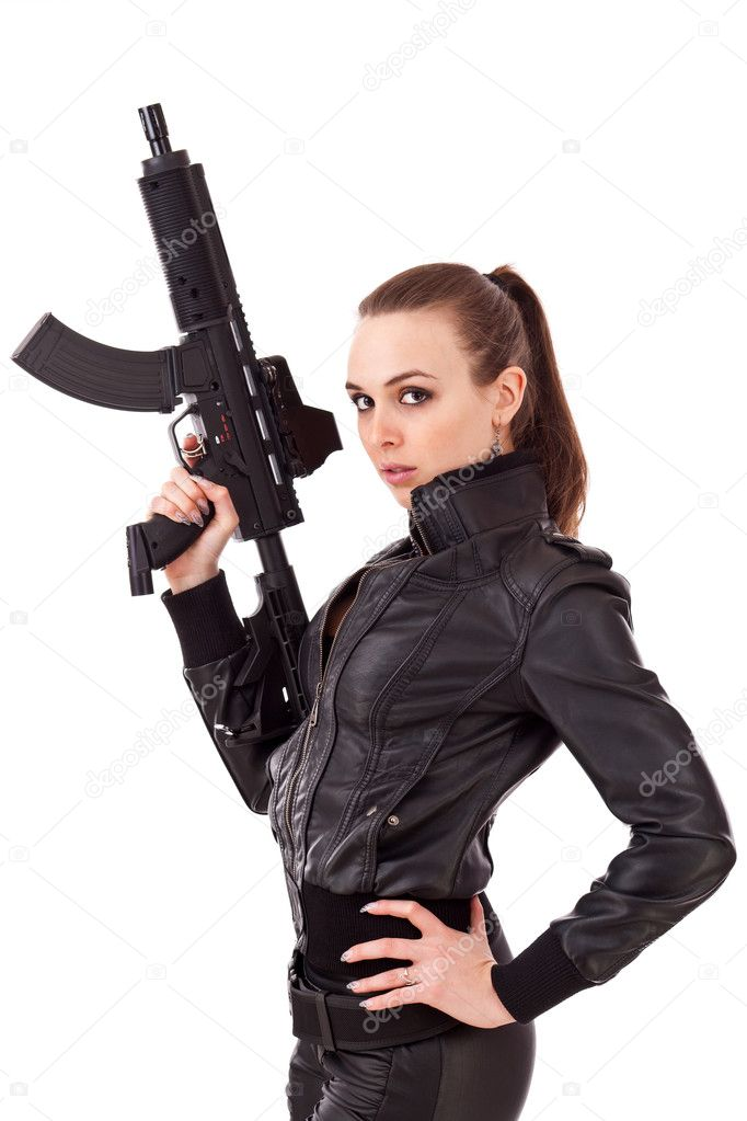 Bad girl Joslyn James begs for some love gun posing with an automatic weapon № 147632 без смс