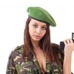 銃を持った若い女性兵士 — ストック写真 #9579164