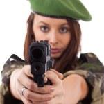 Military woman aiming — Stockfoto #9579166