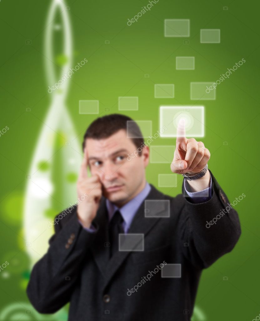 Businessman hand pressing blank button in futuristic green background — Stock Photo #9579222