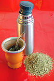 Yerba mate with thermos jug — Stock Photo