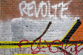 Graffiti on a red wall in Berlin — Stock Photo