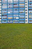 Blue facade and green grass — Stock Photo