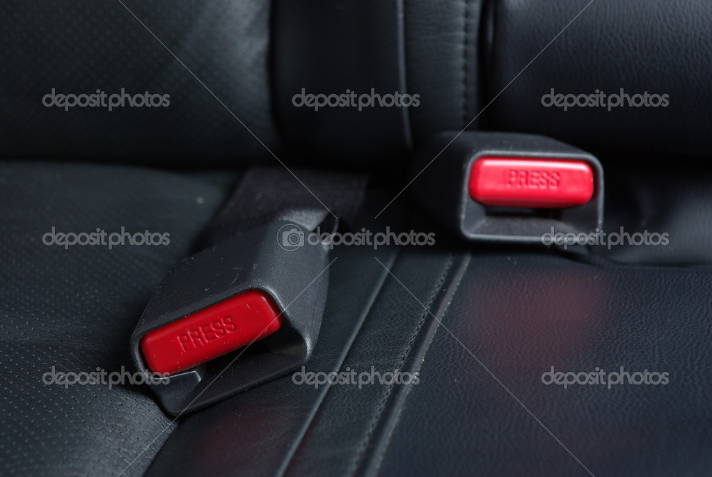 Two safety buckles on a car seat  Stock Photo #8767545