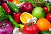 Fruits and vegetables background — Foto Stock