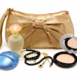 Handbag, perfume, powder, necklace — Stock Photo
