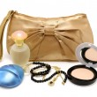 Stock Photo: Handbag, perfume, powder, necklace