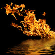 Fire on the water. — Stock Photo