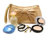 Handbag, perfume, powder, necklace — Stock Photo