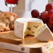 Still-life with blue cheese, grape and bread. — Stock Photo #10081381