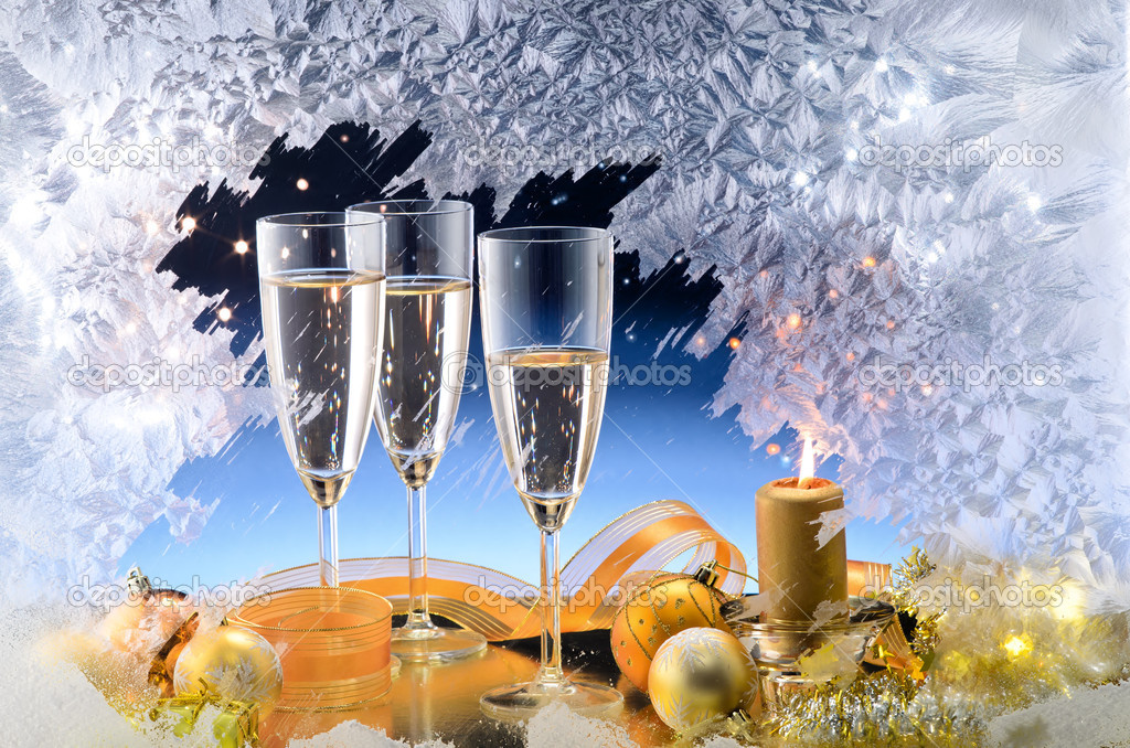 Frosted window, champagne glasses and Christmas decoration   Stock Photo #8003819