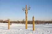 Wooden poles Yakut — Stock Photo