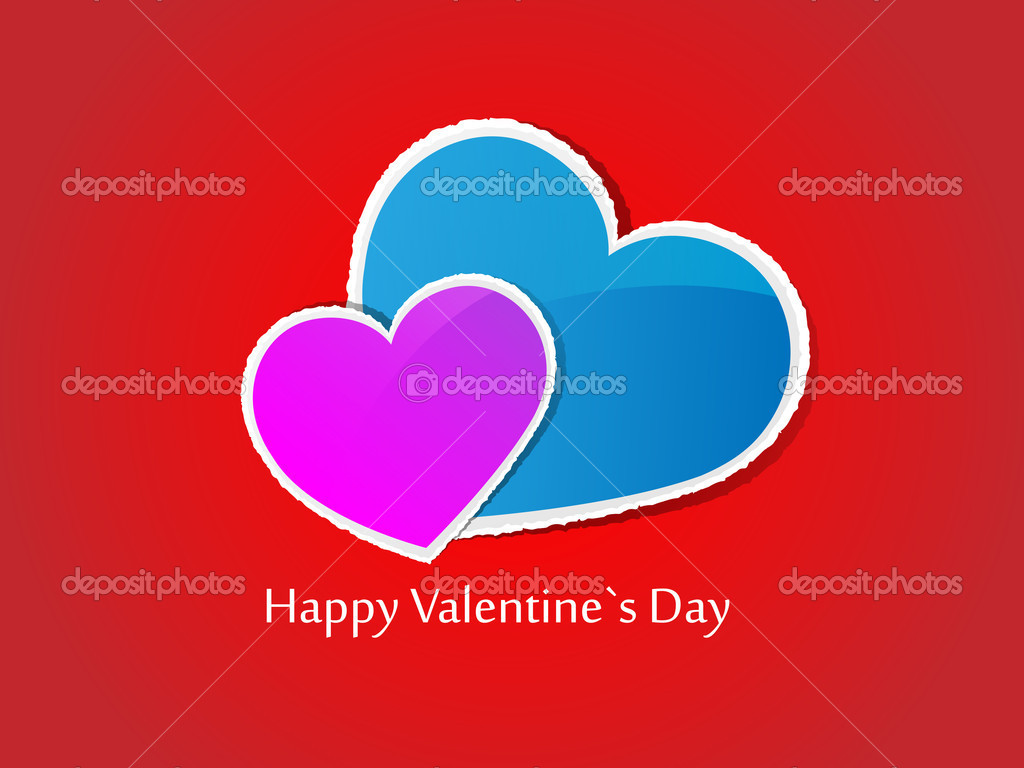 Valentine's Day card on red background. Vector illustration. — Stock Vector #8619259