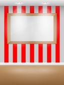 Galleri inredning med tom ram på väggen. — Stockvektor