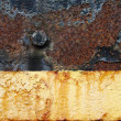 Rusty metal peeling paint background — Stock Photo