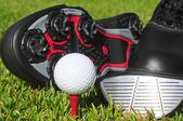 Palla e scarpe da golf — Foto Stock
