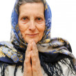 Stock Photo: Old age praying womon white background