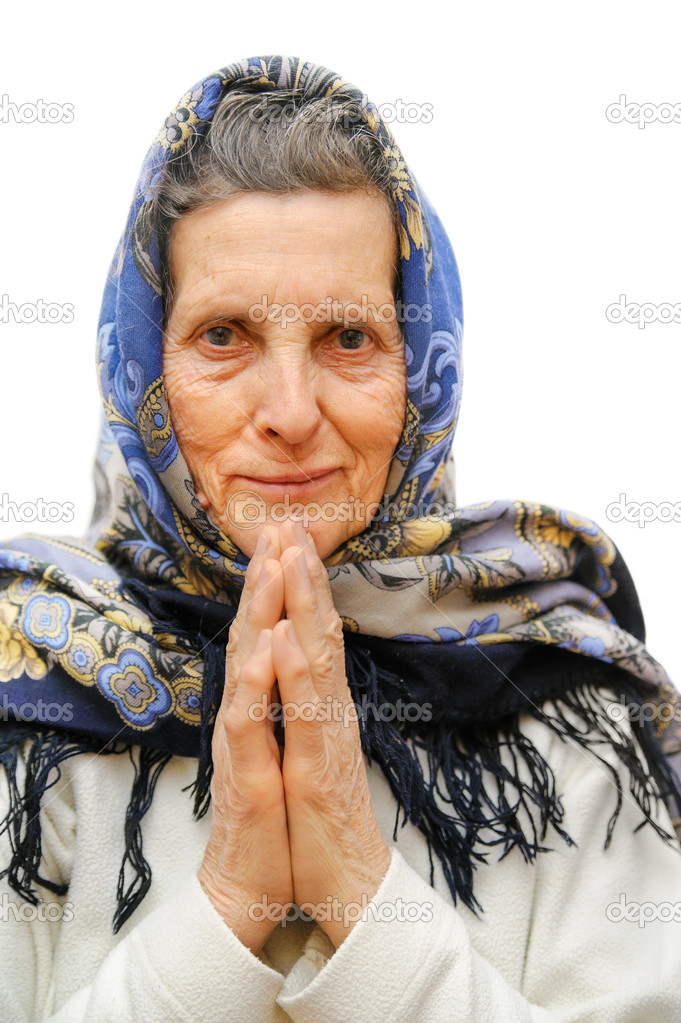 Old age praying woman on white background  Stock Photo #9913735