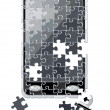 Stock Vector: Puzzle smart phone broken