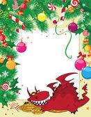クリスマス カードとお金とドラゴン — ストックベクタ