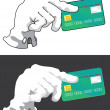 Hand with credit card — Stock Vector