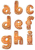 Set cookie letters A to I — Stock Vector