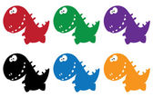 Little funny dino color — Stock Vector