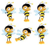 Set funny bee — Vector de stock