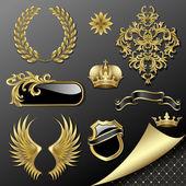 Set of heraldic elements — Stock Vector