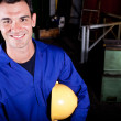 Happy blue collar worker — Stock Photo