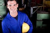 Happy blue collar worker — Stock Photo