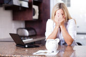 Young woman having financial problems — Stock Photo