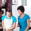 Mother teaching teen daughter cooking — Stock Photo #10252478
