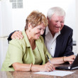 Happy senior couple checking bank balance - Stock Photo
