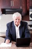 年配の男性人のインターネットの銀行業 — ストック写真