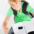 Teen boy giving thumbs up — Stock Photo
