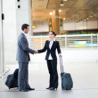 Businessman and businesswoman meeting at airport — Stock Photo