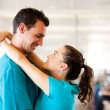Young couple say good bye at airport — Stock Photo