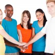 Stock Photo: Group of young hands together