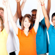 Group of multicultural arms up — Stock Photo