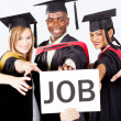 Stock Photo: Graduates grab job