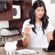 Stock Photo: Young indian woman shopping online