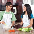 Modern indian couple cooking in kitchen — Lizenzfreies Foto