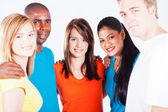 Multiracial group hug — Stock Photo